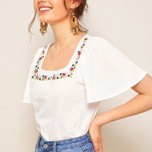 Simply Embroidered Flounce Sleeve Blouse